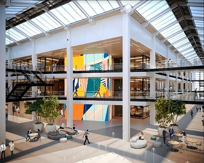 One of the latest renderings of the central common area of the forthcoming Bell Works Chicagoland on the former AT&T corporate campus in Hoffman Estates.