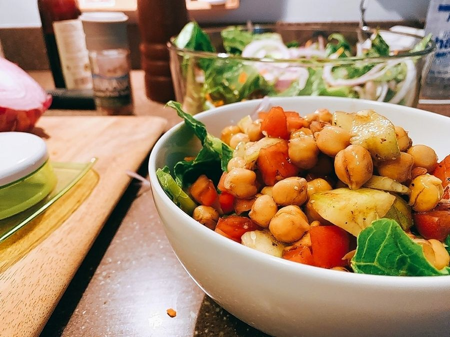 A simple garbanzo bean salad comes together quickly.