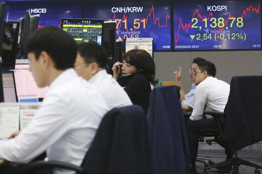 Currency traders watch monitors at the foreign exchange dealing room of the KEB Hana Bank headquarters in Seoul, South Korea, Monday, June 22, 2020. Shares were mostly higher in Asia on Monday despite reports that the number of coronavirus cases in the U.S. has surged sharply.