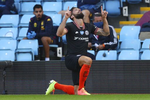 Chelsea's Olivier Giroud celebrates after scoring his side's second goal during the English Premier League soccer match between Aston Villa and Chelsea at the Villa Park stadium in Birmingham, England, Sunday, June 21, 2020. (Justin Tallis/Pool via AP)