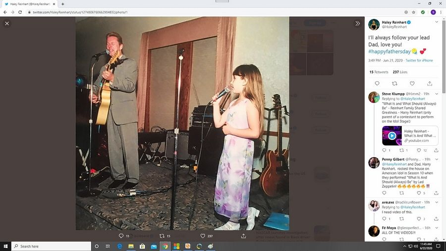 Haley Reinhart paid tribute to her dad in a Father's Day Twitter post featuring a flashback photo.