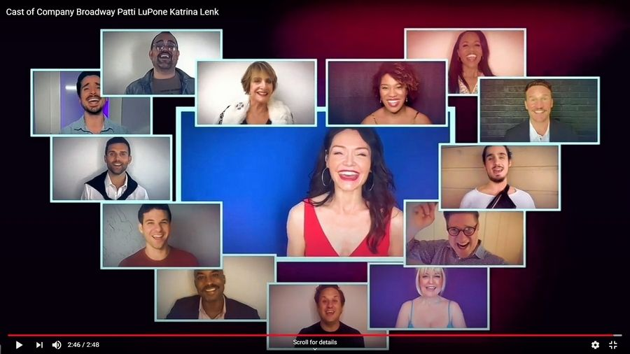"Former Barrington resident and Tony Award winner Katrina Lenk, center, performs online alongside castmates in the title number of the postponed Broadway revival of Stephen Sondheim's ""Company."""