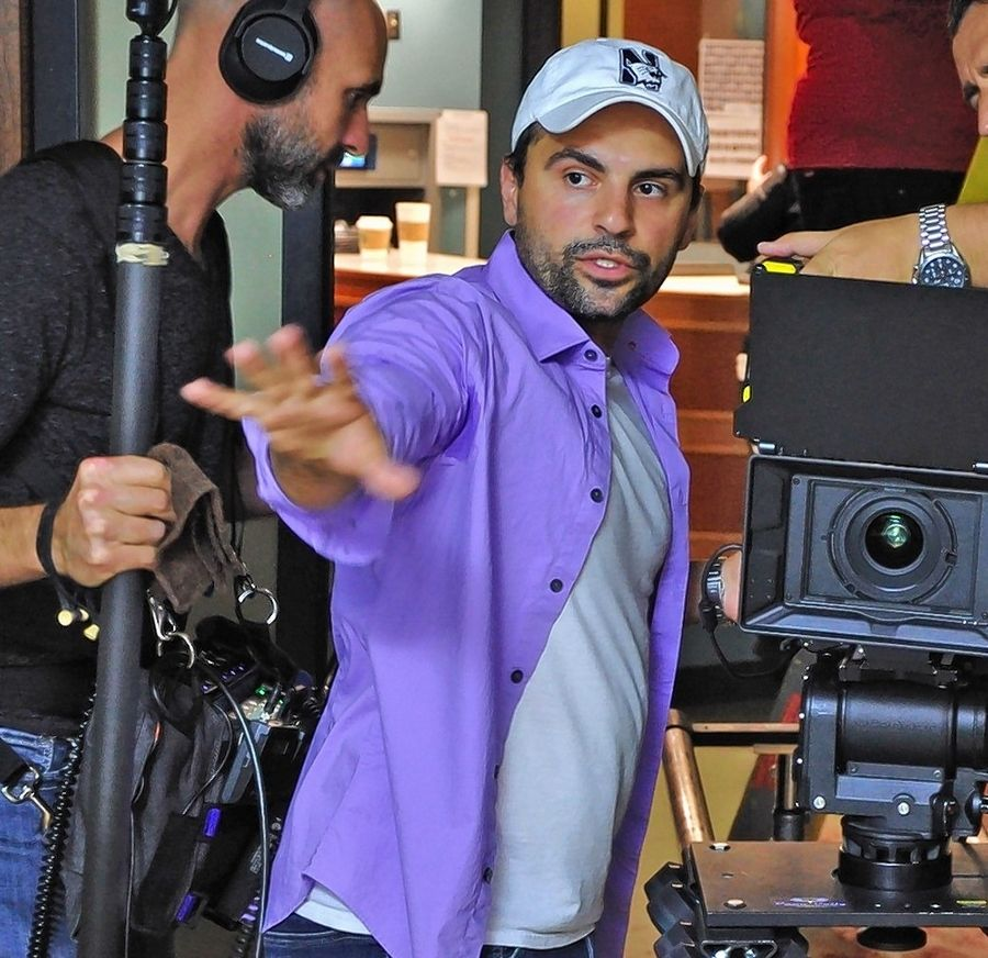Nominated for a Chicago Emmy while he was a student at Northwestern University, filmmaker Sam Logan Khaleghi likes to wear his purple Northwestern gear when he directs.