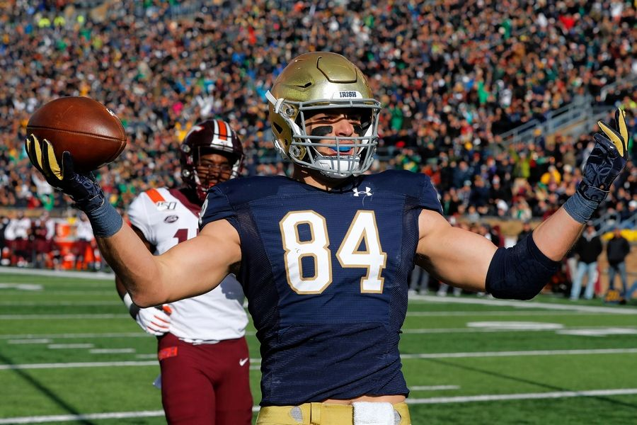 Chicago Bears top draft pick tight end Cole Kmet (84) celebrates an 8-yard touchdown reception during the first half of Notre Dame's game against Virginia Tech, Saturday, Nov. 2, 2019, in South Bend, Ind.