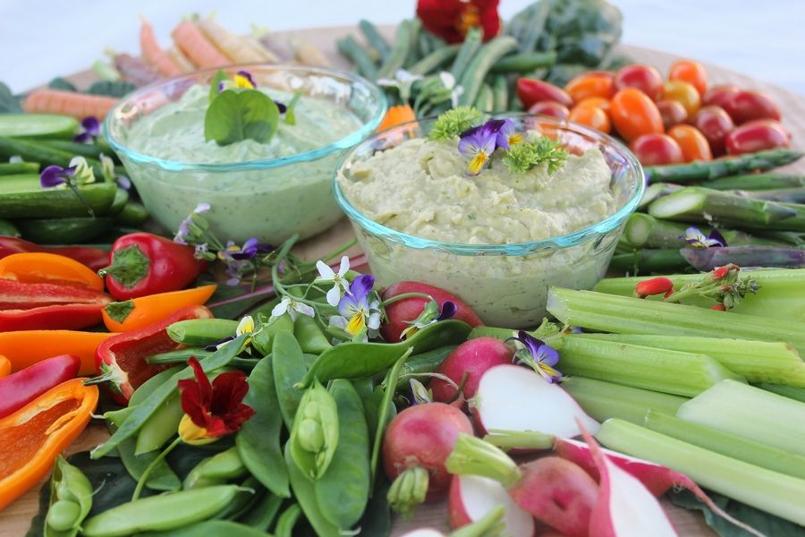 Herby bean dip and Avocado yogurt dip