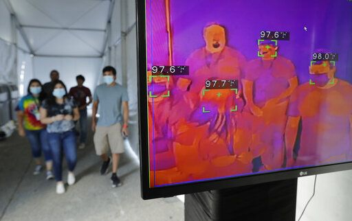 CORRECTS TO FLAGS, NOT FLAG - FILE - In this Friday, June 19, 2020 file photo, visitors to Six Flags Fiesta Texas pass through a thermal screening area as they enter the park as a precaution against COVID-19 in San Antonio. The park reopened Friday at fifty percent capacity. Coronavirus cases are climbing rapidly among young adults in a number of states where bars, stores and restaurants have reopened - a disturbing generational shift that not only puts them in greater peril than many realize but poses an even bigger danger to the older people who cross their paths.
