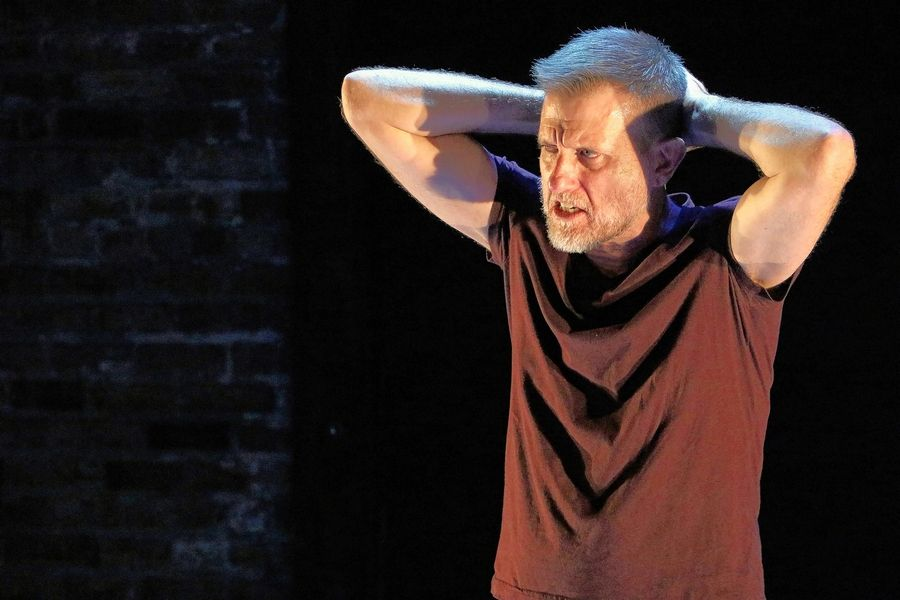 "Scott Bradley stars in his 2019 autobiographical one-man show ""Packing,"" which is available for online streaming for About Face Theatre through Sunday, July 12."