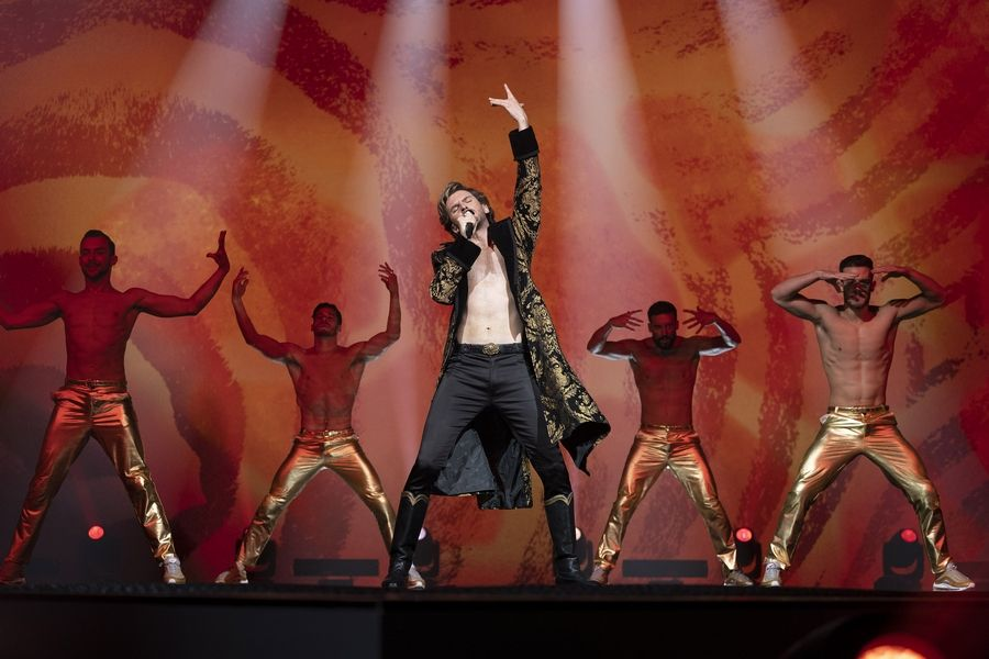 "Russian singer Alexander Lemtov (Dan Stevens) brings the laughs in Netflix's ""Eurovision Song Contest: The Story of Fire Saga."""