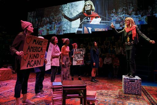 "In this image released by PBS, Christine Lahti, portrays Gloria Steinem, right, in a scene from ""Gloria - A Life."" The taped theater production airs Friday on PBS. (Joan Marcus/PBS via AP)"
