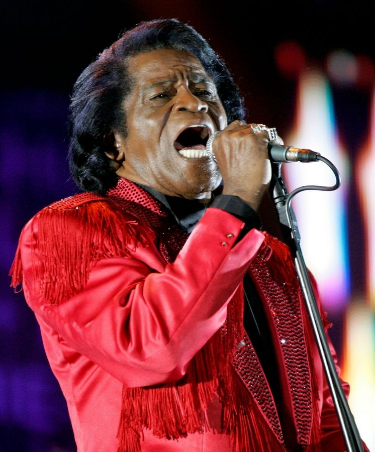 James Brown performs in 2005 at Murrayfield Stadium in Edinburgh, Scotland.