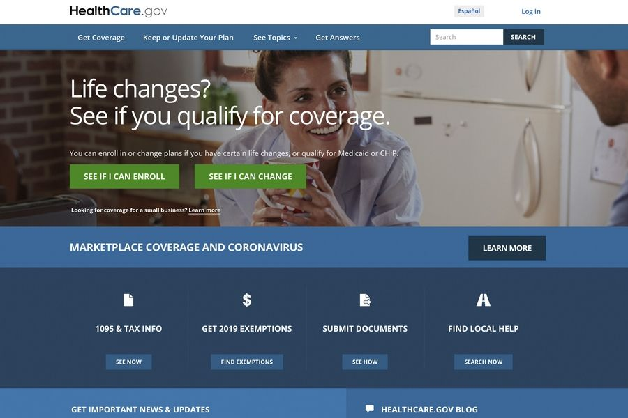 FILE -- This file image provided by U.S. Centers for Medicare & Medicaid Service shows the website for HealthCare.gov. Close to half a million people who lost their health insurance amid the economic shutdown to slow the spread of COVID-19 have gotten coverage through HealthCare.gov, the government reported Thursday, June 25, 2020.