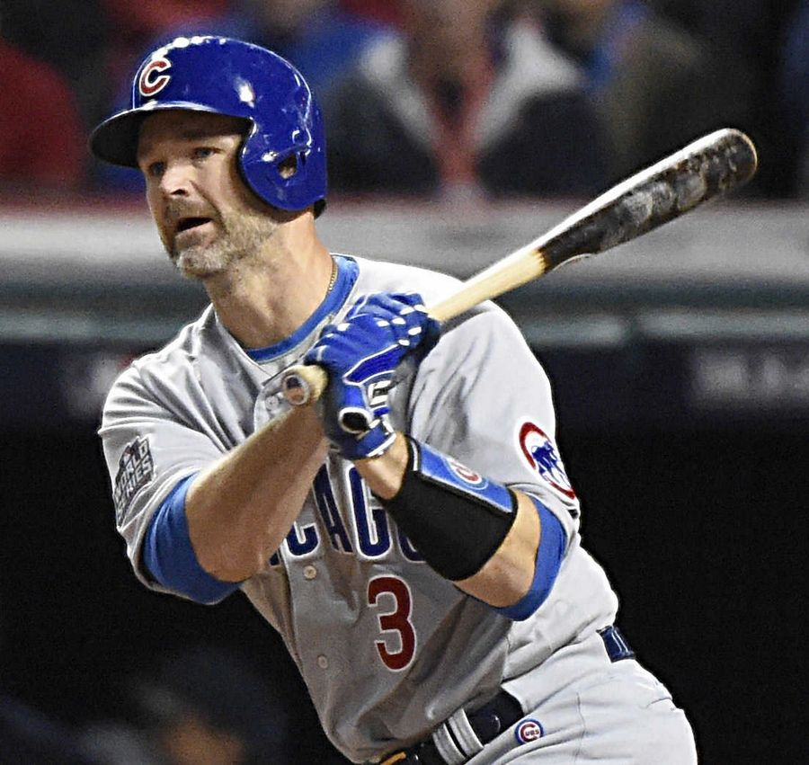David Ross, here connecting for a base hit in Game 1 of the 2016 World Series, will now be leading the Cubs from the bench.