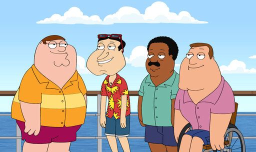 "In this image released by Fox, animated characters, from left, Peter Griffin, Glenn Quagmire, both voiced by Seth MacFarlane, Cleveland Brown, voiced by Mike Henry and Joe Swanson, voiced by Patrick Warburton from the series ""Family Guy."" Henry, announced Friday, June 26, that he will no longer voice the black character Cleveland Brown. (Fox via AP)"