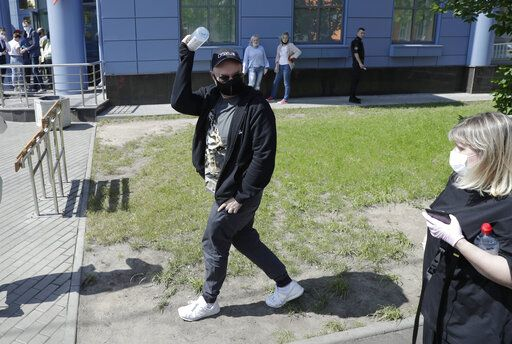 Russian film and theater director Kirill Serebrennikov wearing a face mask to protect against coronavirus arrives for a court hearing at the Meshchansky court, in Moscow, Russia, Friday, June 26, 2020. A court in Moscow is expected to deliver a verdict on Friday to the acclaimed theater director accused of embezzling state funds, in a case widely seen as politically motivated.