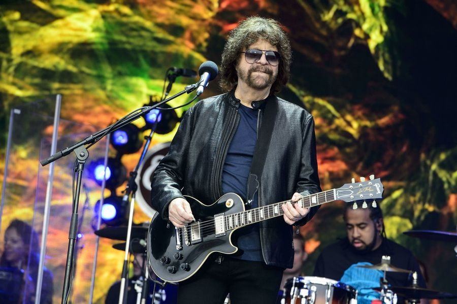 Jeff Lynne from Electric Light Orchestra performs in 2016 at the Glastonbury festival in Somerset, England.
