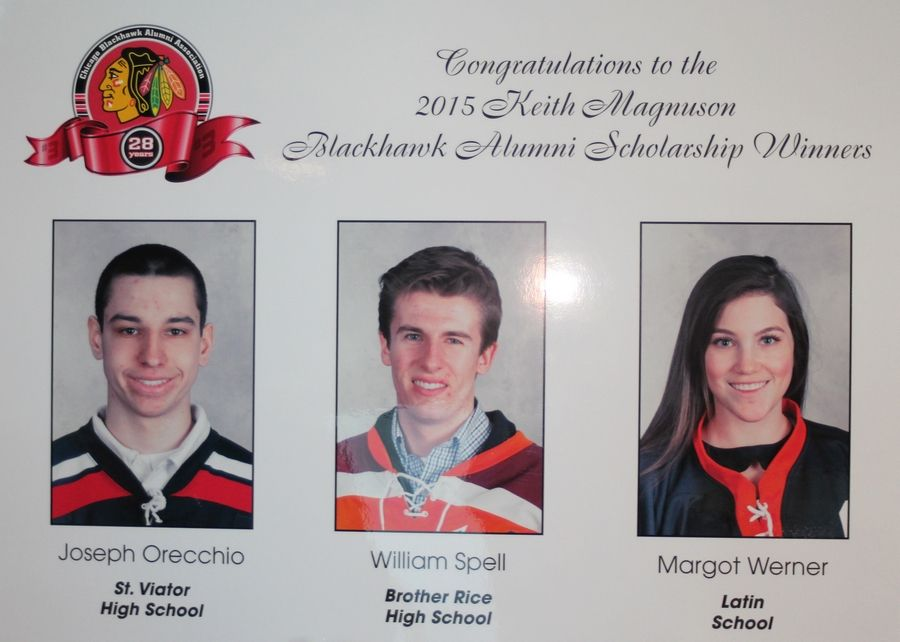 The 2015 winners of the Keith Magnuson Scholarships were, from left: St. Viator's Joseph Orecchio, Brother Rice's William Spell and Latin School's Margot Werner.