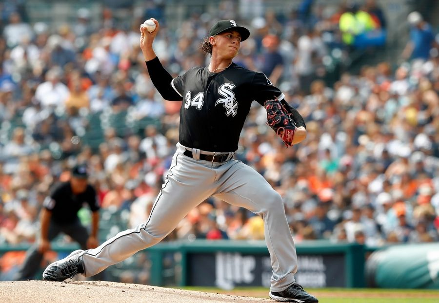 Chicago White Sox starting pitcher Michael Kopech throws during a game against the Detroit Tigers in 2018. Kopech is available to the Sox this season after spending the entire 2019 season recovering from Tommy John surgery.