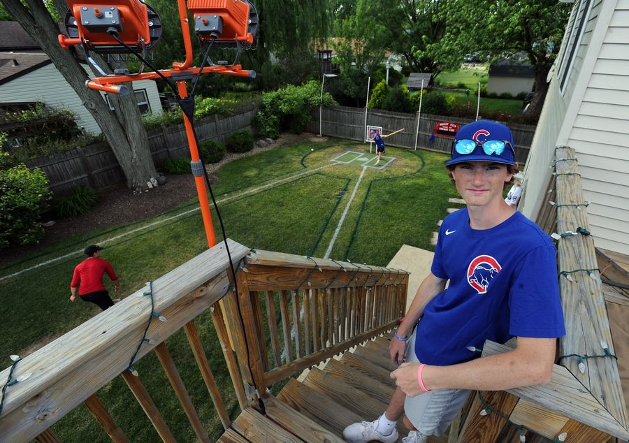 D.J. Dick, who will be a junior at Palatine High School this year, built a replica Wrigley Field Wiffle ball stadium in the backyard of his family's Palatine house.