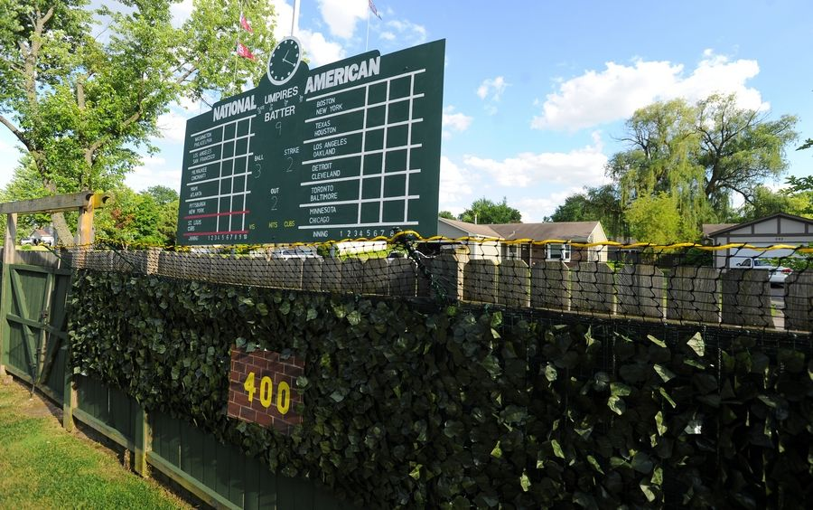 The Wrigley Field Wiffle ball stadium 16-year-old D.J. Dick built in the back yard of his family's Palatine house comes complete with a scoreboard, foul poles and ivy on the wall.