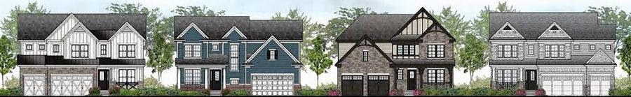 A rendering shows some of the architectural styles Glendale Heights-based Nitti Development LLC is proposing for its 149-home Braxton Woods development on 62 acres in Schaumburg. Nitti is contracted to buy the site from Palatine-Schaumburg High School District 211.