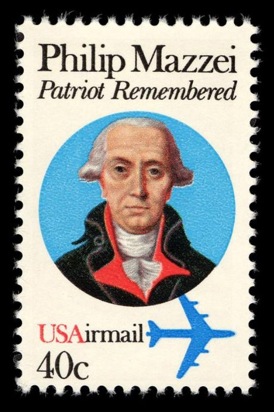"In 1980, the U.S. Postal Service issued this stamp honoring Philip Mazzei, an Italian-born political philosopher and friend of Thomas Jefferson who is credited with inspiring the line ""All Men are Created Equal"" in the U.S. Declaration of Independence."