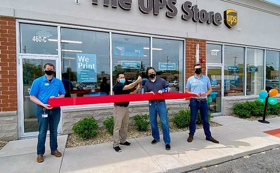 "A ribbon-cutting ceremony was held for The UPS Store located at 460 W Irving Park Road, Suite C, in Bensenville. Village President Frank DeSimone, Village Manager Evan K. Summers, Community Liaison Steve Skurski, and store Owner Jaime ""Jimmy"" Ochoa came together as the ceremonial red ribbon was cut. The locally owned and operated UPS Store offers a variety of services including in-store and online printing, document finishing, notary services, packing, shipping, and freight services."