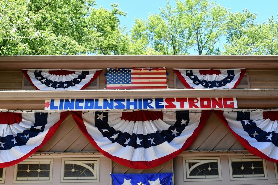 A home on Half Day Road is one of the entries in the #LincolnshireStrong Independence Day decorating contest.