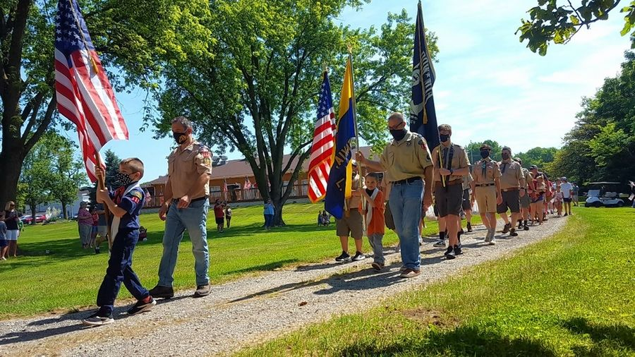 Local Scout troops kick off a short social-distancing parade Saturday morning outside the Batavia VWF Post 1197.