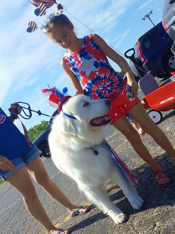 Chloe Raykow and her dog Jack get ready for the Batavia VFW Post 1197's parade Saturday.