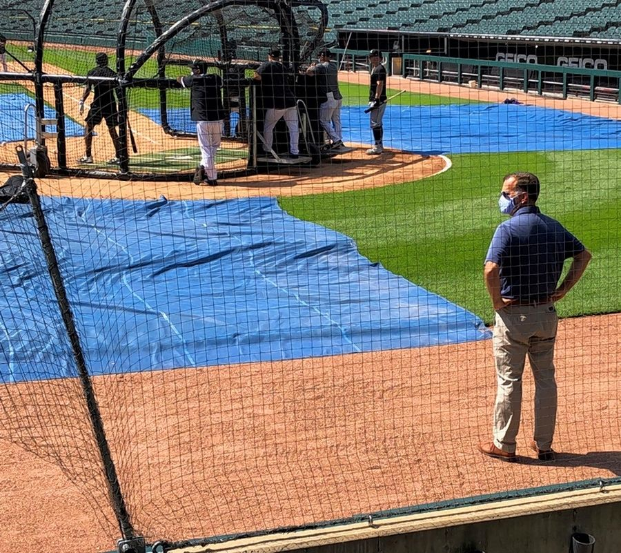 White Sox GM Rick Hanh looks on during Day 2 of summer camp at Guaranteed Rate Field on Saturday.