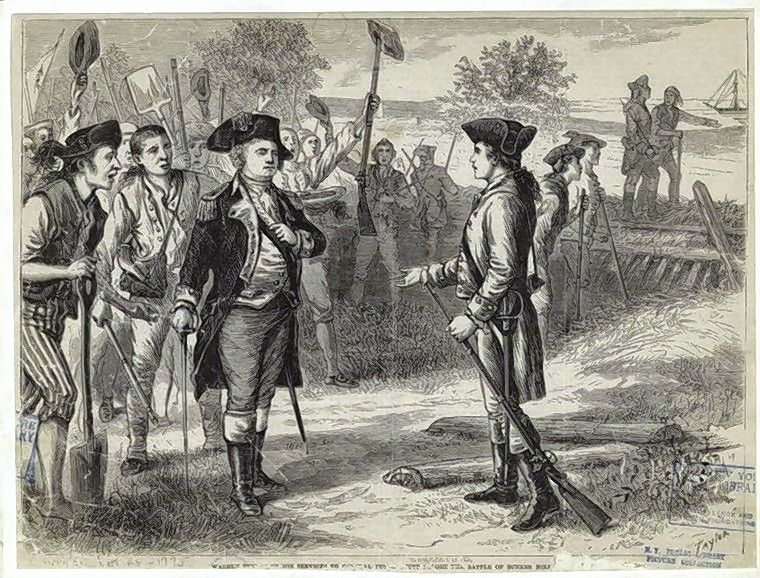 Though recently commissioned as a major general by the Provincial Congress, Joseph Warren, right, volunteers to fight as a private in General Israel Putnam's forces before the Battle of Bunker Hill, where he was killed. Warren Township is named for him.