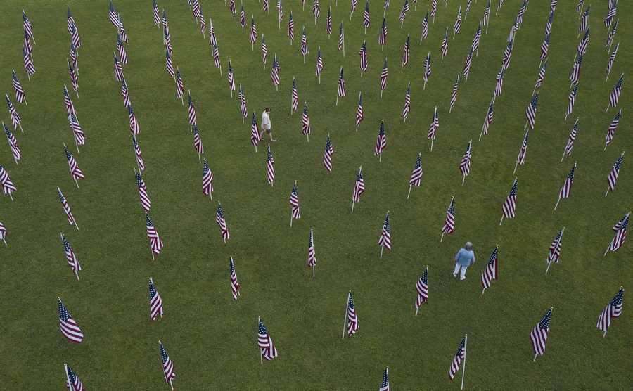 Veterans of Foreign War 8081 in Warrenville posted over 500 flags in the ground around their facility for people to purchase to honor a family member who has served time in the military.
