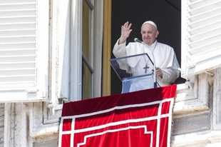 Pope Francis waves to faithful from his studio window overlooking St. Peter's Square at the Vatican, as he leaves at the end of the Angelus prayer, Sunday, July 5, 2020. (AP Photo/Riccardo De Luca)