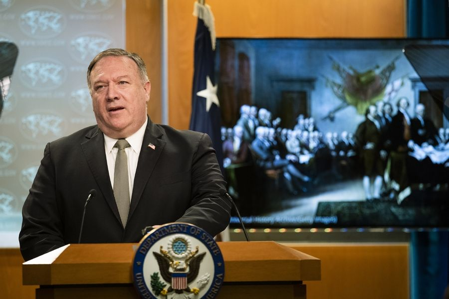 Secretary of State Mike Pompeo, speaks Wednesday during a news conference at the State Department in Washington.