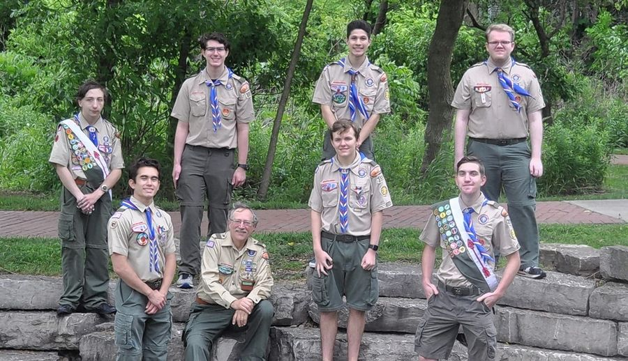 Troop 399 Scoutmaster Roger Malinski, center, is surrounded by his latest group of Eagle Scouts. In front, from left, are Nick Johnson, Malinski, Johnny Waity and Jason Matker; in back are Erik Doyle, Alex Grogman, Jaydon Romsaithong and Michael Savage.