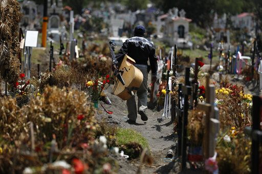 A musician walks between graves of people deceased in the last two months, in a section of the Municipal Cemetery of Valle de Chalco opened to accommodate the surge in deaths amid the ongoing coronavirus pandemic, on the outskirts of Mexico City, Thursday, July 2, 2020.