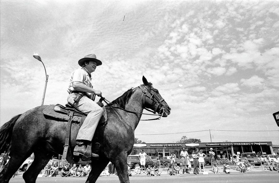 If this cowboy -- pictured in the Arlington Heights Fourth of July parade in 1978 -- ever left his horse unattended, he'd be subject to a local citation. That rule was on the books until this week, when local officials removed the outdated regulation.