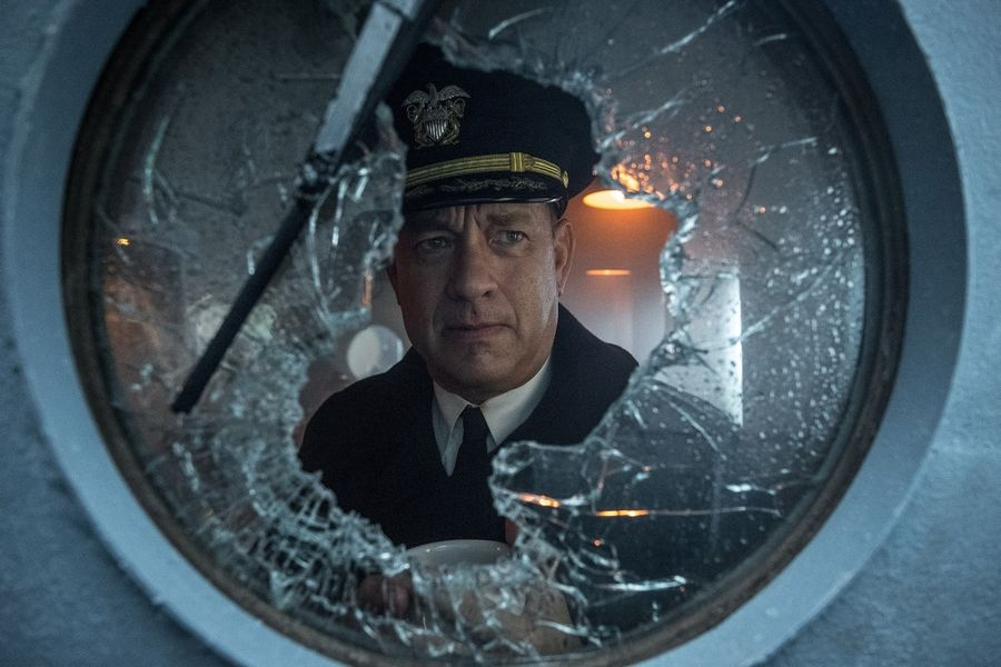 "Capt. Ernie Krause (Tom Hanks) leads a convoy of 37 supply vessels to Liverpool in the World War II naval drama ""Greyhound."""