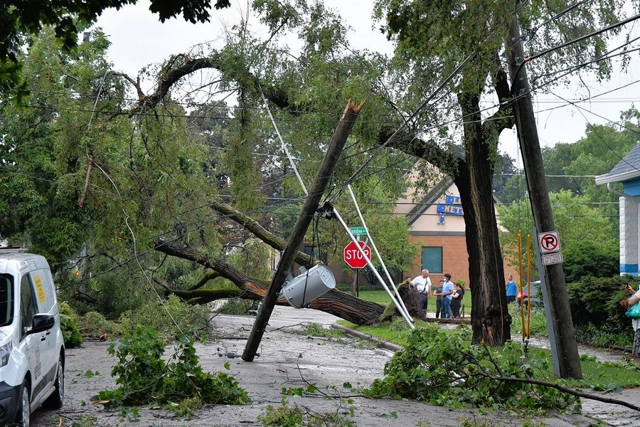 Thursday evening's storm in Elgin left downed power lines and trees in its wake.