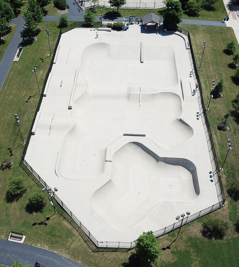 Aerial view of the Techny Prairie Park and Fields skate park in Northbrook.