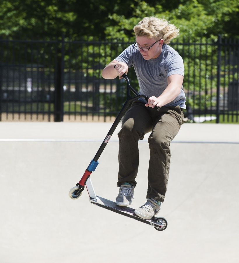 Nick Auberger of Elkhorn, Wis., goes airborne at the Techny Prairie Park and Fields skate park in Northbrook.