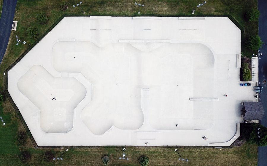 Aerial view of the Techny Prairie Park and Fields skate park in Northbrook. Most of the inner shapes are concave in this overhead view.