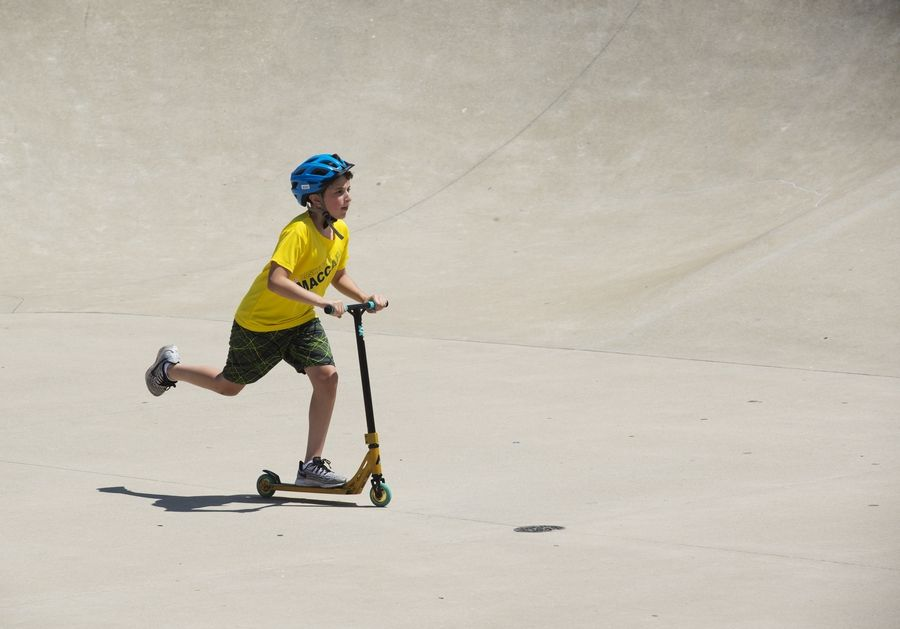 Daniel Mudrick, 12, of Northbrook picks up speed at the Techny Prairie Park and Fields skate park.