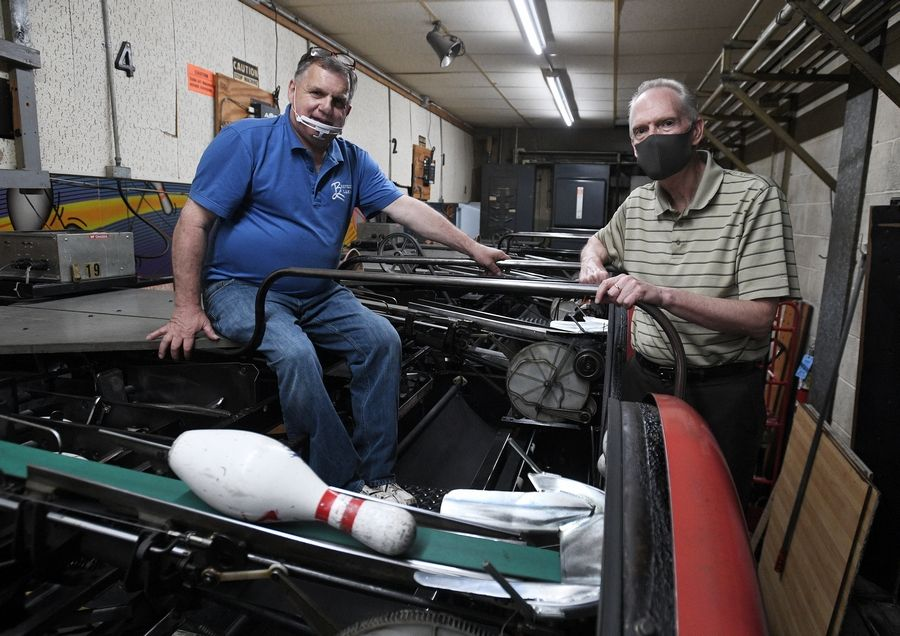 Owner of Heights Beverly Lanes, Inc. bowling alley is Lyle Zikes, 63, of Arlington Heights at Beverly Lanes in Arlington Heights for the past 30 years (right) with maintenance director Mark Jareczek.