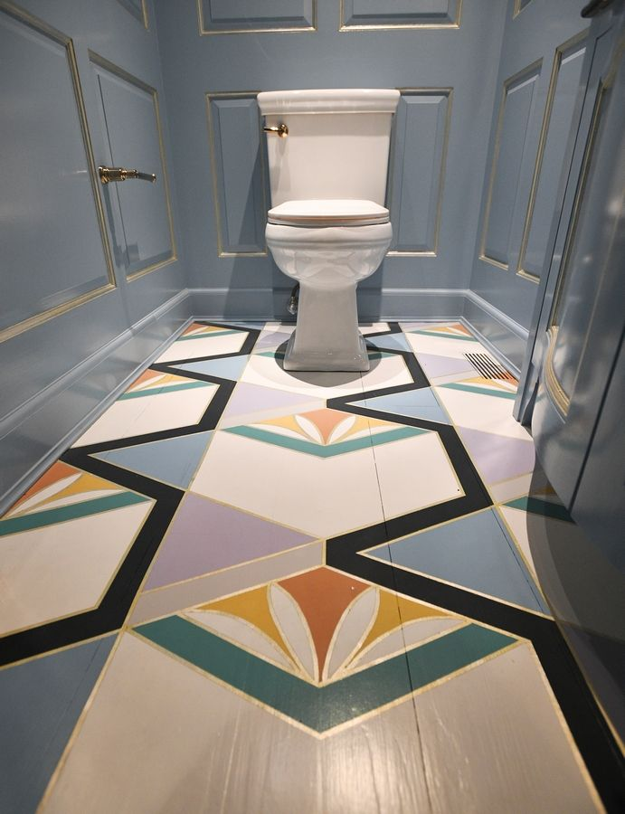 This hand-painted wood floor is in one of the bathrooms of the Pullman Estate.