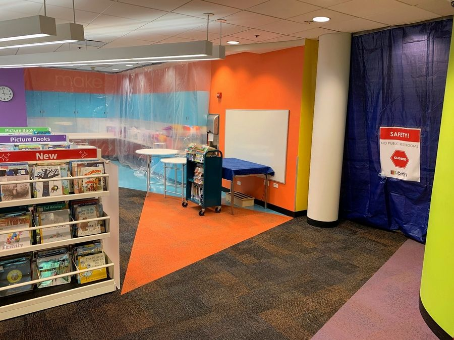 The maker space in the youth department of the Wauconda Area Library will be off limits when the facility reopens to the public.