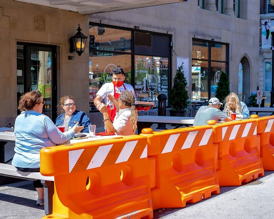 Altiro Latin Fusion, 1 S. Stolp Ave., uses both sidewalk seating and parklets to serve patrons.