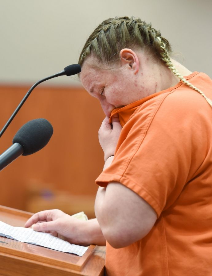 JoAnn Cunningham, 37, cries as she reads a statement at the end of a sentencing hearing Thursday in Woodstock.