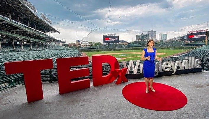 Alison Henderson, owner of Moving Image Consulting in Downers Grove, speaks at a recent TEDx Wrigleyville session. Henderson says the need to interpret nonverbal language among co-workers and clients is even greater in the world of video conferencing and meeting with masks.