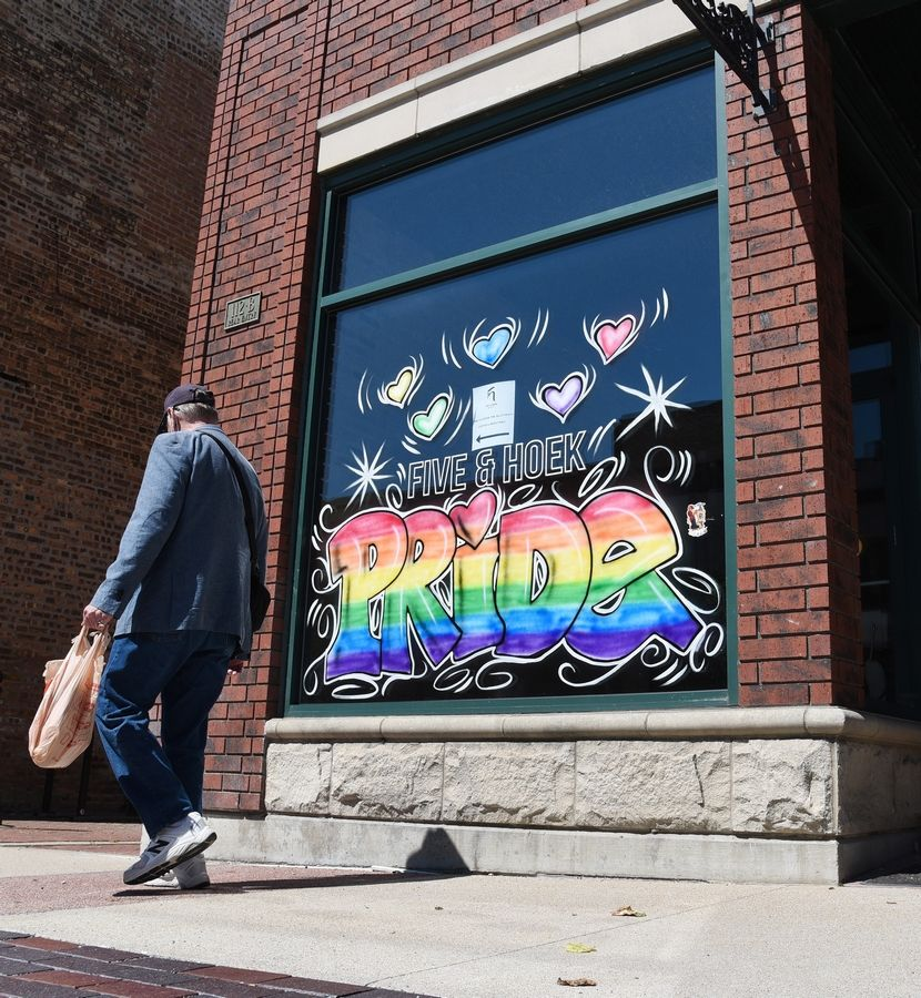 Five & Hoek Coffee shop on Main Street in downtown Wheaton showed support for the LGBTQ+ community during Pride month.